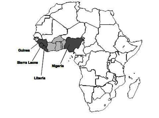 Map of Africa Showing the Endemic Area for Lassa Fever