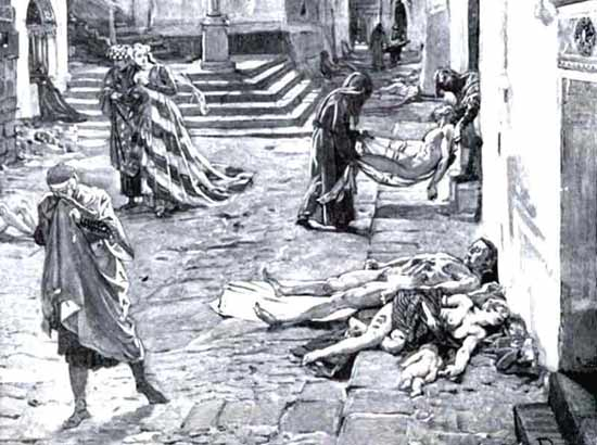 Marcello's Drawing of the Black Death in Italy 1348 AD