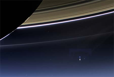Earth Smiles at Saturn