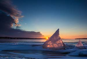 Shark Fin of Ice in Lewis and Clark Lake