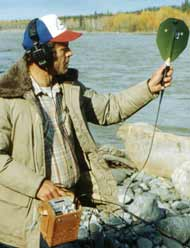 Biologist with a Salmon Tracking Device
