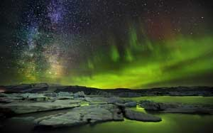 Northern Lights and Milky Way