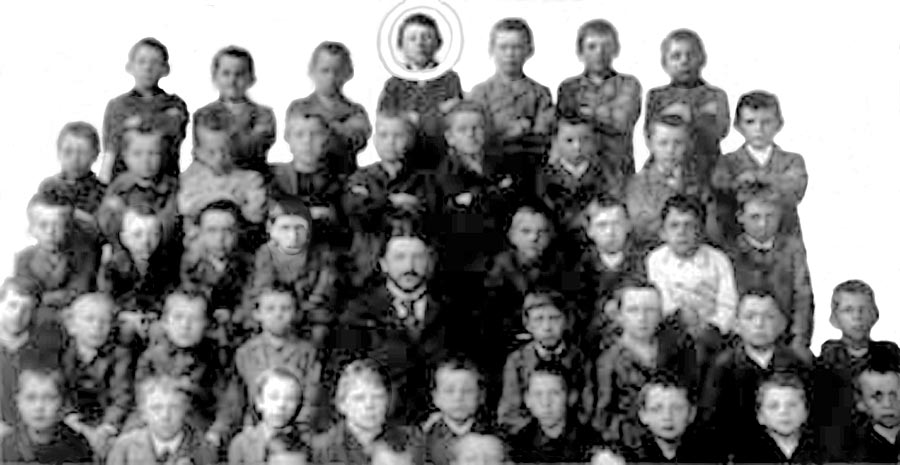 Adolf hitler circled with his fellow pupils at school in lambach