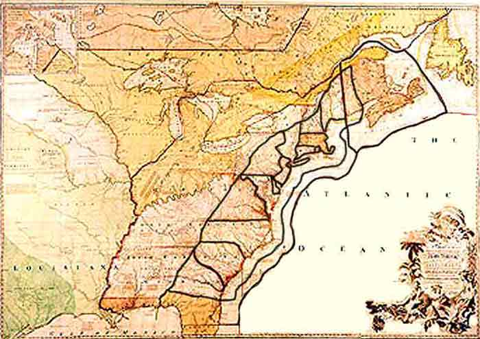 Map of the 13 original colonies made in 1755 library of congress
