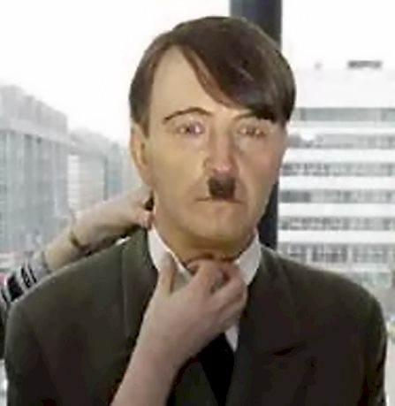 charlie chaplin hitler moustache. give Hitler longer hair,