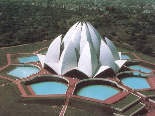 Baha'i Lotus Temple Aerial view, different angle